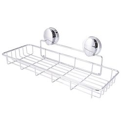 Super Vacuum Suction Cup Shower Caddy Basket, Rustproof Soap Dish Rectangle Basket Wall Shelves  ...