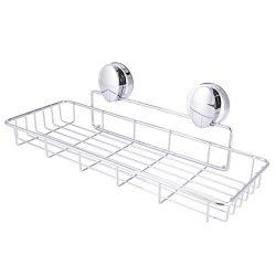 Super Vacuum Suction Cup Shower Caddy Basket, Rustproof Soap Dish Rectangle Basket Wall Shelves  ...