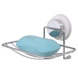 TAILI Vacuum Suction Cup Soap Dish Sponge Holder Chrome Plated Steel for Shower Bathroom & K ...