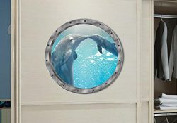 BIBITIME 11″ x 11″ Fake Submarine Window View 3D Dolphin Wall Sticker Sea Animal Vin ...