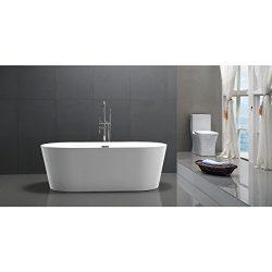 Kardiel HB-BT-AGORA-59-RO Agora Freestanding Acrylic Soaking Bathtub, 59″, Whiterectangle  ...