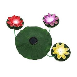 VORCOOL Solar-Powered Floating LED Lotus Light Lamp Nightlight for Garden Lawn Pond Pool
