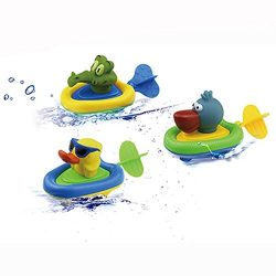 YOSWAN Amphibious Pull and Go Car Playset Bathing Soft Rubber Duck Crocodile Pelican Animal Swim ...