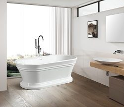 "Vanity Art Free Standing Acrylic Bathtub Dimension: 59""W x 29.5""D x 23.6""H VA6610-S"