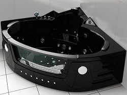 Two 2 person whirlpool massage bathtub bath tub Hydrotherapy Black corner bathtub 59.05 inch War ...