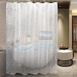 EVA Shower Curtain Liner with Metal Hooks, Mold&Mildew Resistant,Waterproof, Anti-bacterial, ...