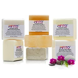 Pifito Premium Melt and Pour Soap Base Sampler – Assortment of 7 Bases (1lb ea); Clear, Wh ...