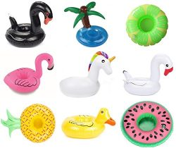 9 Pack Inflatable Drink Holder Unicorn Float,Fruit Flamingo Swan Plam Duck Inflatable Pool Cup H ...