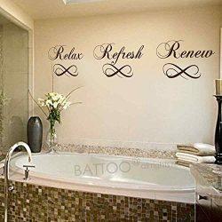BATTOO Relax Refresh Renew Bathroom Vinyl Wall Decal Bathtub Wall Sticker Home Decor(black,6R ...