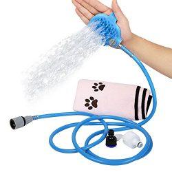 Pet Shower Sprayer Dog Cat Bathing Tool 2-IN-1 Massage Scrubber & Sprinkler for Indoor Outdo ...