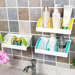 Binmer(TM) Home Bathroom Plastic Shower Storage Rack Shampoo Holder Shelf Wall Suction NEW (Blue)