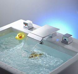 Greenspring Widespread 3 Pcs Big Spray Tap 2 Handle Waterfall Bathroom Basin Sink Bathtub Mixer  ...