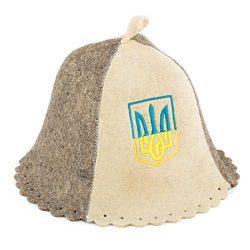 """Eden Ukraine Wool Sauna Hat Embroidered """"Ukrainian Trident"""""""