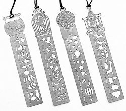 Pack of 4 MINI Ultrathin Metal Bookmark Ruler Templates Stencil Stainless Steel Creative Hollow  ...