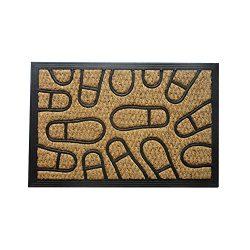 Amber Home Goods Footprint Floor mat Front Door Mat Large Outdoor Indoor Entrance Doormat Low Pr ...