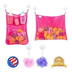 2 x Mesh Bath Toy Organizer + 6 Ultra Strong Hooks – The Perfect Net for Bathtub Toys & Bath ...