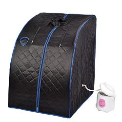 SUNCOO 2L Portable Home Steam Sauna Spa Full Body Slimming Loss Weight Detox Therapy (Black)