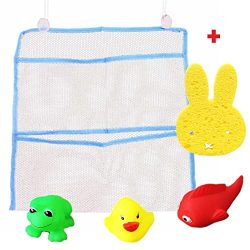Bath Toy Organizer + 3 Bath Toys + Random Color Sponge For Kids Tub Storage Toy Holder Baby Yell ...
