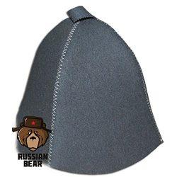 RussianBear ™ Gray Polished Wool Hat for Sauna Banya Bath House Head Protection Unisex