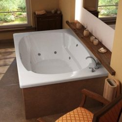St. Lucia 48 x 72 x 23″ Corner Whirlpool Jetted Bathtub Color/Trim / Tile Flange / Drain / ...