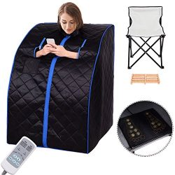 Portable Far Infrared Sauna Spa Full Body Slimming Loss Weight Detox Therapy (Black)