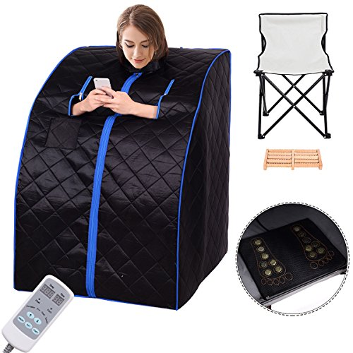 Giantex Portable Far Infrared Spa Sauna Full Body Slimming Weight Loss Negative Ion Detox Therap ...