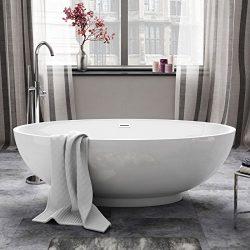 1690mm Modern White Designer Bathroom Oval Freestanding Bath Bathtub by iBathUK