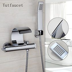 Yutfaucet Curve Chrome Polished Sold Brass Wall Mounted Bathtub Shower Faucet