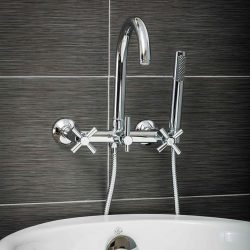 Luxury Clawfoot Tub or Freestanding Tub Filler Faucet, Modern Design with Wand Style Hand Shower ...