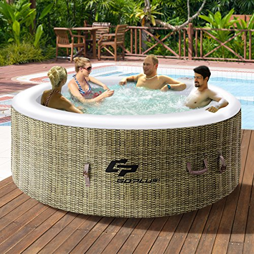 Goplus 4 Person Inflatable Hot Tub Outdoor Jets Portable Heated Bubble Massage Spa Set w/ Filter ...