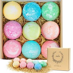 Bath Bombs Gift Set 9 Mixed Color Large Natural Organic Relax Bath Spa Bomb Kit for Women Men Ch ...