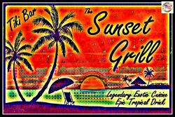 Tiki Bar Sunset Grill Sign 8″x12″ Made In Hawaii USA All Weather Metal. Lounge Welco ...
