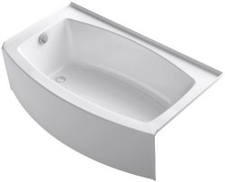 KOHLER K-1118-LA-0 Expanse 60″ x 30″ To 36″ Curved Alcove Bath with Integral A ...