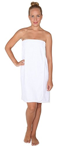 Arus Women's Organic Turkish Cotton Adjustable Closure Spa Shower and Bath Wrap L/XL White