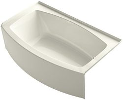 KOHLER K-1118-RA-96 Expanse 60″ x 30″ To 36″ Curved Alcove Bath with Integral  ...