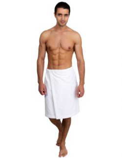 TowelSelections Cotton Terry Velour Bath Towel Shower Wrap for Men Small/Medium White