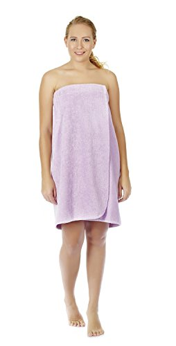Arus Women's Organic Turkish Cotton Adjustable Closure Spa Shower and Bath Wrap P/S Lilac