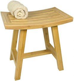 Shower Furniture –  Asia Lotus Bamboo Bath Bench Shelf Seat or Decor for Bathroom or Sauna