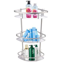 Vividy 3-Tier Bathroom Corner Shelf, Aluminum Wall Shelves Shower Storage Towel Basket