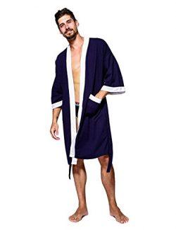 WEEN CHARM Men's Waffle Weave Robe Kimono Spa Bathrobe