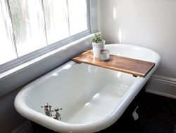 Modern Bathtub Tray Caddy – Wooden Bath Tub Caddy Smooth Natural Bath Shelf Walnut Compute ...
