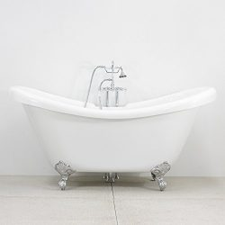 59″ CoreAcryl Hotel Collection Double Slipper Clawfoot Tub & Faucet Pack, Chrome Fixtu ...