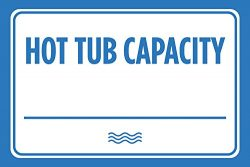 Hot Tub Capacity Blue White Print Swim Rules Swimming Horizontal Poster Outdoor Notice Sign