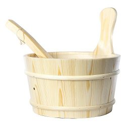 RGX 4L Sauna Accessory Pine Wooden Bucket Pail Ladle With Linner Combined Set Handmade Sauna and ...