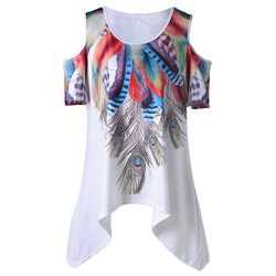 Lywey Women Loose Slim Fit Leisure Peacock Feather Print Bare Cold Shoulder Cold Shoulder Asymme ...