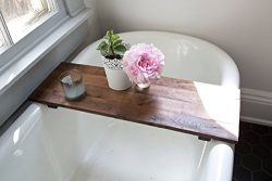 Rustic Wooden Bathtub Tray – Walnut Bath Tub Caddy Wood Clawfoot Tub Shelf Desk Board Handmade