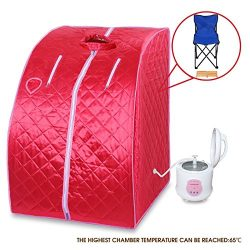 BUY JOY Red Portable 2L Home Steam Sauna Spa Full Body Slimming Loss Weight Detox Therapy
