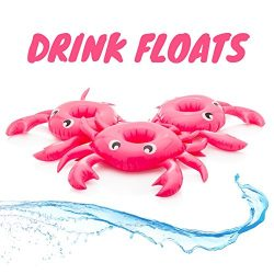 Inflatable Drink Holder for Pool Float Floating Set of 3 – Crab Cup Floaties Perfect for P ...