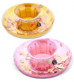 Pool Party – Gold & Rose Gold Sparkling Circle Confetti Pool Inflatable Ring Tube Drink Hold ...