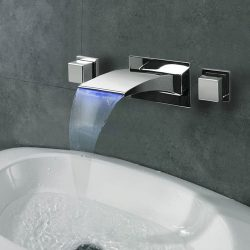 Lightinthebox Contemporary Wall Mounted LED / Waterfall with Ceramic Valve Two Handles Three Hol ...